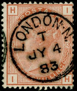 SG163, 1s orange-brown plate 13, FINE USED, CDS. Cat £170. WMK CROWN. IH