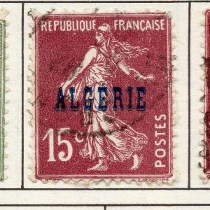 Algeria 1924 Early Issue Fine Used 15c. Optd 170508