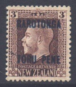 Cook Islands Scott 54 - SG49, 1919 Raratonga Opt 3d Perf 14x13.1/2 unused no gum