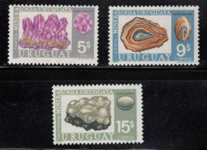 Uruguay Scott 828-830 MH* Mineral stamp set