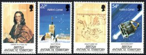 British Antarctic Territory 129-132, MNH. Halley's Comet.Giotto space probe,1986