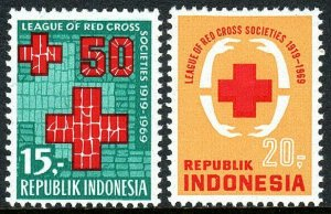 Indonesia 759-760, MNH. League of Red Cross Societies, 50th anniv. 1969