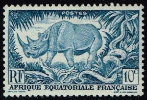 French Equatorial Africa #166 Black Rhino & Python; Unused (2Stars)