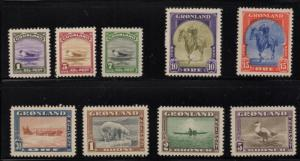 Greenland 1945 long stamp  set mint King, Seal, Eider Duck, Dogsled