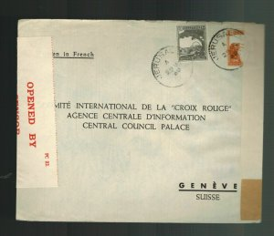 1940 Jerusalem Palestine cover to Red Cross Geneva Switzerland Dual Censored