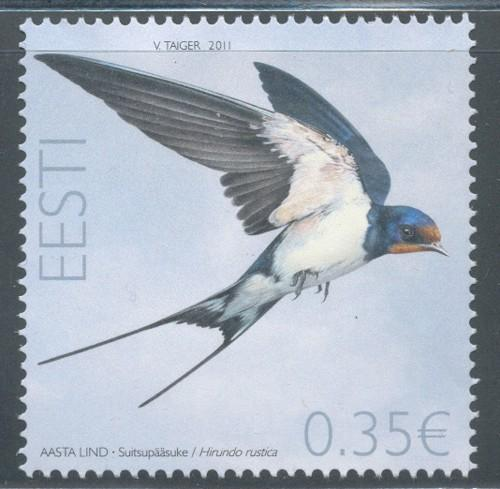 Estonia Sc 669 2011 Barn Swallow stamp mint NH