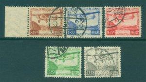 JAPAN  1929/34  AIRMAIL - Ashinoko  MAIL PLANE set   Sk# A1-5  used