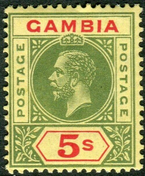 GAMBIA-1922 5/- Green & Red/Pale Yellow.  A mounted mint example Sg 102