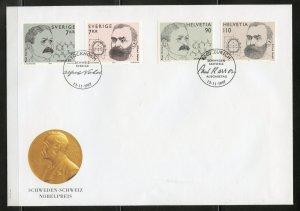 Sweden/Switzerland 1997 Alfred Nobel/Paul Karrer Joint Issue FDC