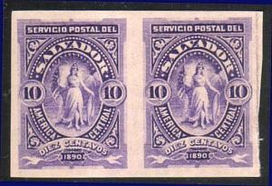 SALVADOR 1890 10c IMPERF PAIR fine mint, lightly hinged....................13465