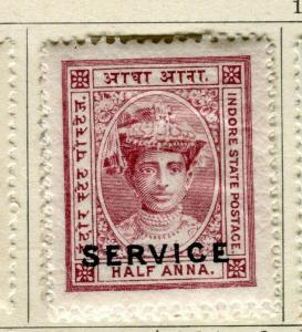 INDIA; INDORE-HOLKAR 1904 early local SERVICE issue Mint hinged 1/2a. value