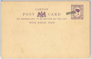 LABUAN -  POSTAL STATIONERY CARD: Higgings & Gage # 3 - SPECIMEN  hand overprint