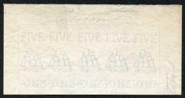 Five Pound Customs Revenue Paper FIVE Impressions