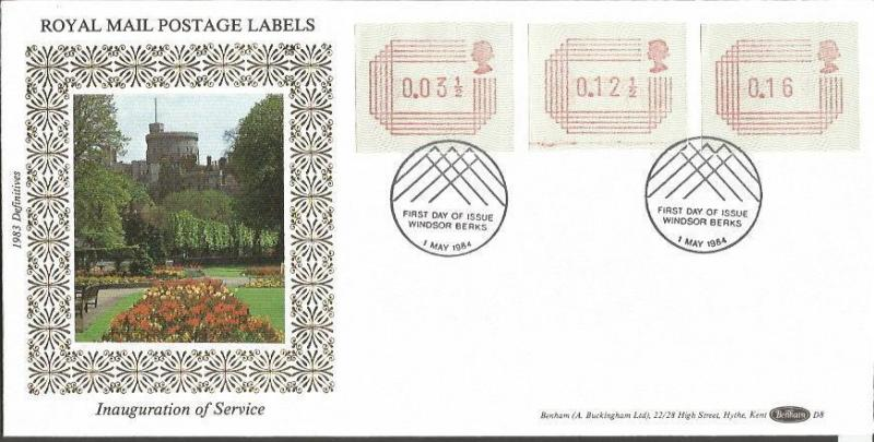 Royal mail Definitives D8 1 May 1984 Benham Official FDC Windsor Postmark Z360