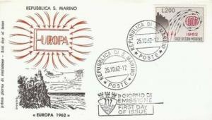 SAN MARINO SC#539 EUROPA 1962 FDC - Filagrand cachet