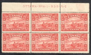Canada #143 MINT NH BLOCK OF 6 - Inscription OTTAWA NoA - 1  935-A-I