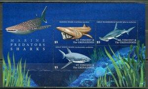ST. VINCENT GRENADINES SHARKS SHEET MINT NH