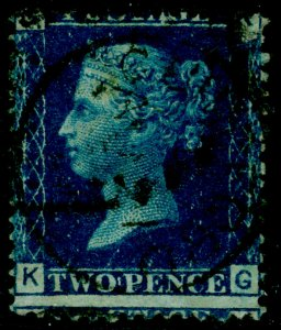 SG47, 2d dp blue plate 13, USED. Cat £30. KG