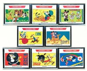 UGANDA - Scott 980-989 -  VFMNH - DISNEY - World Tour - 2 scans - 1992