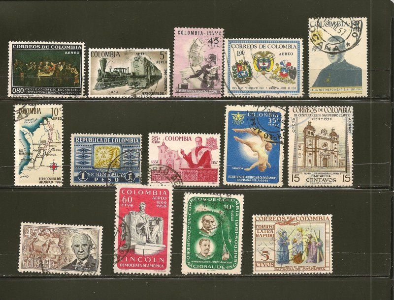 Colombia Collection of 14 Different 1950's-1960's Commemorative Stamps Used