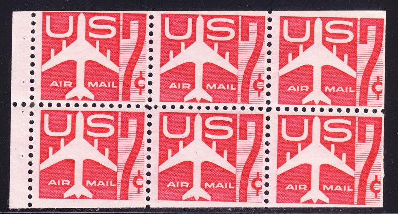 U.S. Airmail BOOKLET Pane (6) 1960 C60a  7cent Jet Airliner  VF/NH