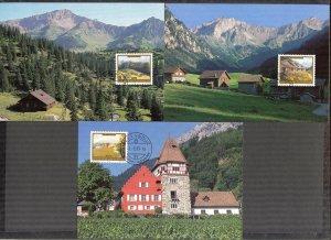 Liechtenstein 1993 Art Paintings Landscapes Architecture 3 Maxi Cards FDC
