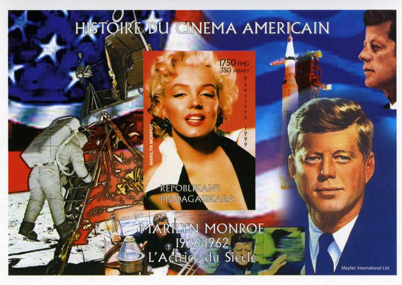 Madagascar 1999 Marilyn Monroe-JF.Kennedy-Armstrong s/s Imperforated mnh.vf