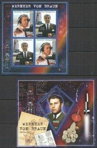 PE234 2013 MALI SPACE EXPLORATION WERNER VON BRAUN KB+BL MNH STAMPS