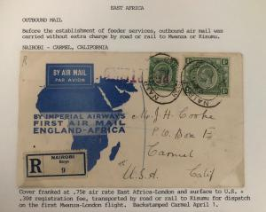 1931 Nairobi Kenya Early Airmail Cover To Camel CA USA Feeder Service