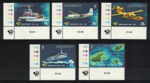 Guernsey Ferry Airplanes Ship Map Transport 5v Corners SG#645-649 SALE BELOW