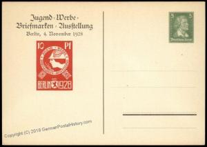 Germany 1928 Youth Stamp Expo Berlin Private Ganzsachen Postal Card Cover 68519