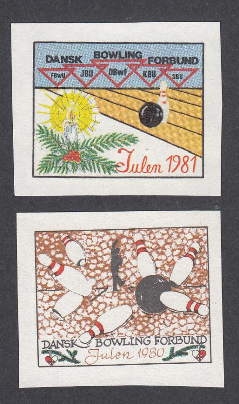 Denmark Poster Stamp  DANISH BOWLING UNION 1980-81