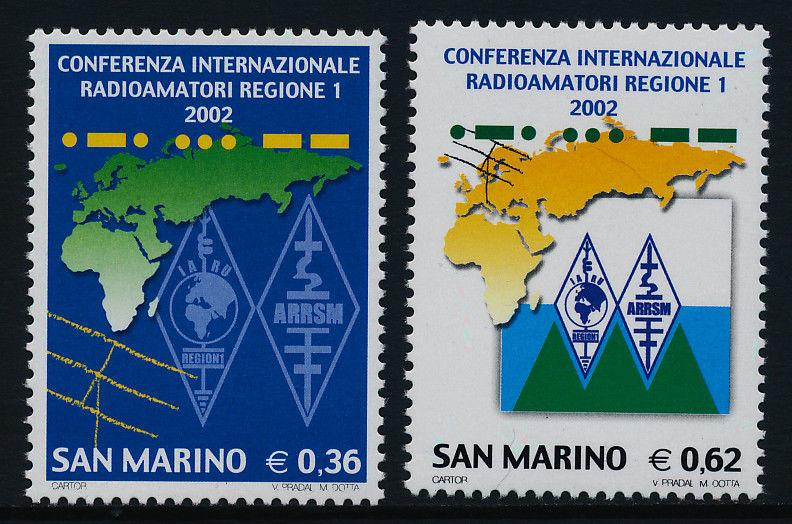 San Marino 1540-1 MNH International Amateur Radio Conference, Map