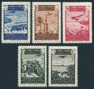 Sp Morocco C11-C15,MNH.Michel 229-233. Air Post 1942.Ketama,Mosque Tanger,Velez,