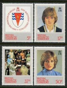 Br Antarctic Territory 1982 Princess Diana set Sc# 92-95 NH