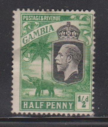 GAMBIA Scott # 102 MH Part OG - KGV & Elephant
