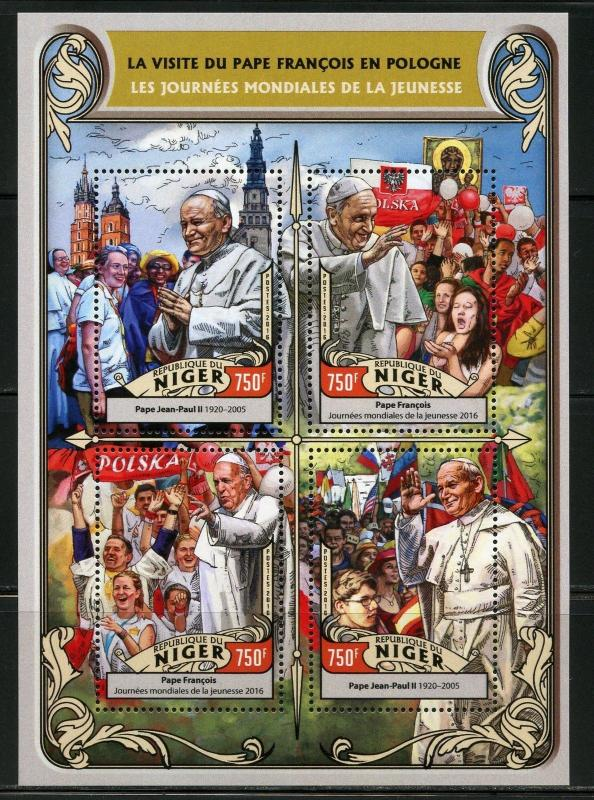 NIGER 2016 YOUTH DAY POPE FRANCIS POLAND VISIT W/ POPE JOHN PAUL II S/S MINT NH