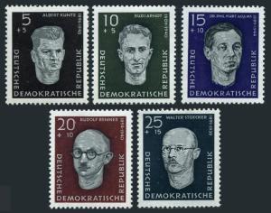 Germany-GDR B36-B40,hinged.Mi 635-639. Portraits 1958.Albert Kuntz,Rudi Arndt,