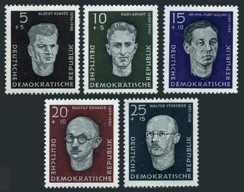 Germany-GDR B36-B40,hinged.Mi 635-639. Portraits 1958.Albert Kuntz,Rudi Arndt,