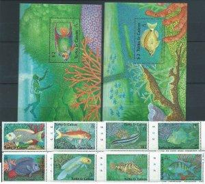 Turks and caicos 1990 marine life fish set+2s/s MNH