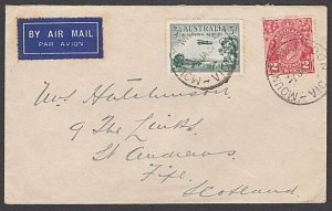 AUSTRALIA 1937 5d rate airmail cover MOUNT MACEDON to Scotland.............55139