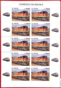A1560 - ANGOLA - ERROR: MISSPERF / Imperf  FULL SHEET x 10 - 2019  Trains