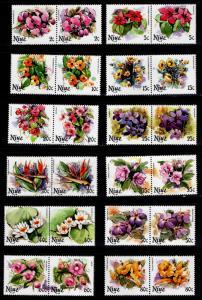 Niue Scott 317-328 Flower Pairs MNH**