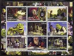 Turkmenistan 2001 Shrek perf sheetlet containing 9 values...