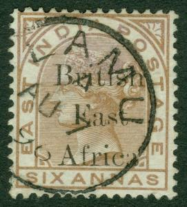 EDW1949SELL : BRITISH EAST AFRICA 1895 Scott #71 Superb Used stamp. Catalog $60.
