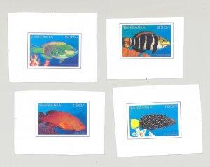 Tanzania #1490-1493 Fish 4v Imperf Chromalin Proofs