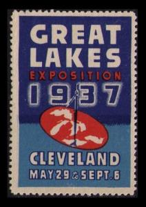 USA, GREAT LAKES EXPOSITION 1937 CLEVELAND MAY 29, VF MH POSTER STAMP CINDERELLA