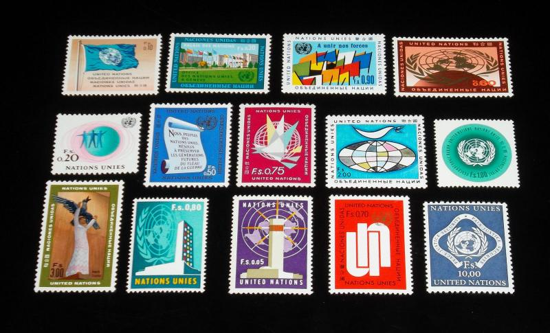 U.N,1969-1970, GENEVA #1-14 YEAR SET ISSUES  SINGLES, MNH, NICE!! LQQK!!