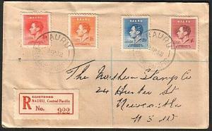 NAURU 1937 Coronation set on 1938 Registered cover to Australia............74962