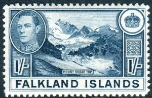 FALKLAND ISLANDS-1938-50 1/- Dull Greenish Blue.  A mounted mint example Sg 158a